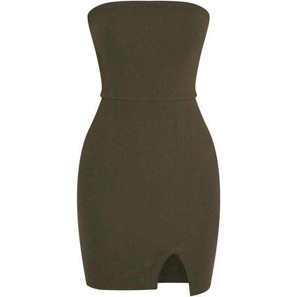 Layala Khaki Split Detail Bandeau Bodycon Dress (£1.50) ❤ liked on Polyvore featuring dresses, vestidos, bodycon dress, body conscious dress, bandeau dress, body con dresses and bandeau bodycon dress