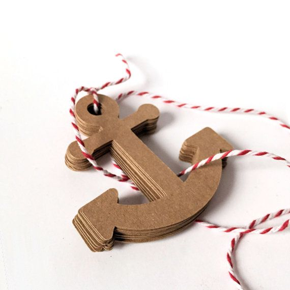 Anchor favor tags, gift tags, die cut, shapes. Baby shower, wedding favors, birthday, bon voyage party, DIY craft. Boat ship anchor brown kraft. by MyPaperPlanet