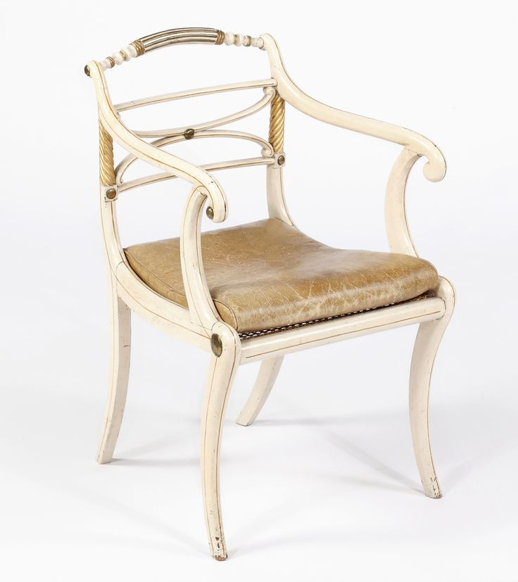 A Fine Set of Eight Regency Lacquered & Parcel Gilt Dining Chairs by John Gee