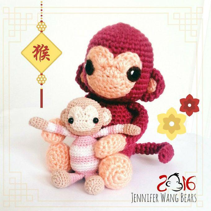 Year of the Monkey FREE#crochet amigurumi pattern, Jennifer Wang Bears, #haken, gratis patroon (vertaling in NL klik op vlag), aap, knuffel, speelgoed, #haakpatroon