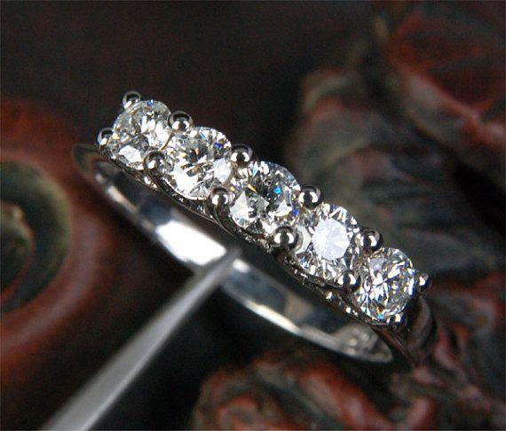 5 Stone Moissanite Ring 3 5mm Round Moissanite Wedding