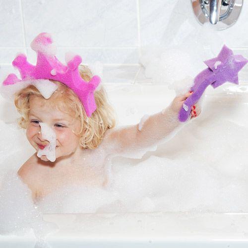 Eponges (set de 2) pour le bain couronne et baguette Princesse