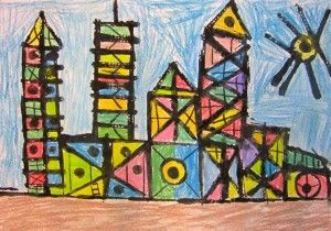 First grade architecture study - printing with cardboard and bottle caps, colored with chalk.