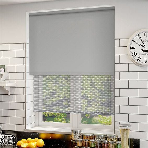 Double Roller Soft Grey Blind