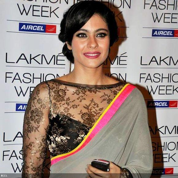 Kajol full sleeved boat neck net blouse design