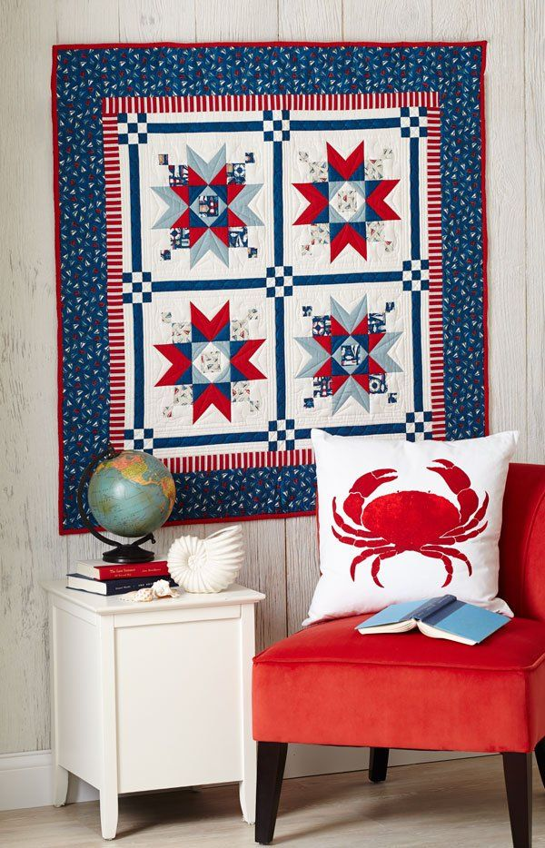 Get on board the nautical trend with fabrics featuring sailboats, lighthouses, and seagulls in patriotic-looking star blocks that are perfect for summer.