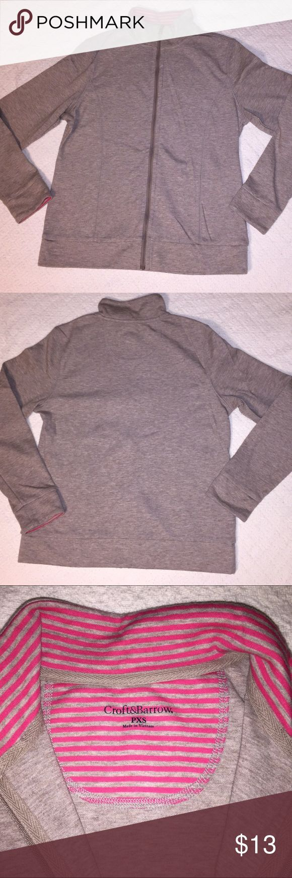 Womens Petite XS oatmeal heather zip up jacket Womens Petite XS oatmeal heather with hot pink striped collar and inside sleeves. Full zip up sweater jacket. Loose fit for XS. Can also fit size small. Very soft and comfortable. Excellent condition. Only worn once. croft & barrow Jackets & Coats