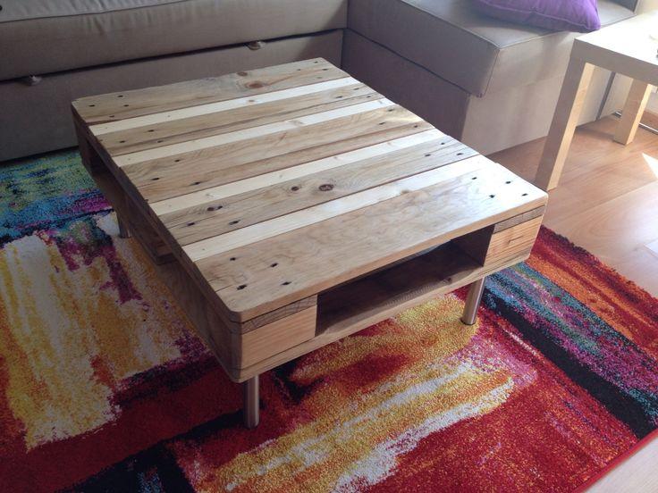 Une palette transformée en table basse. Assez fière du résultat!