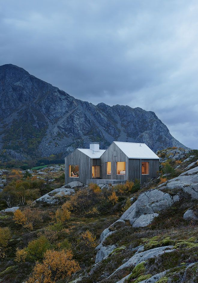 Weekend Cabin: Vega, Norway - a weathered but comfortable cottage is design to mirror the gray granite bones of its Norwegian island
