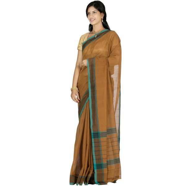Brown Venkatagiri Cotton Saree all over Plain Design v0023