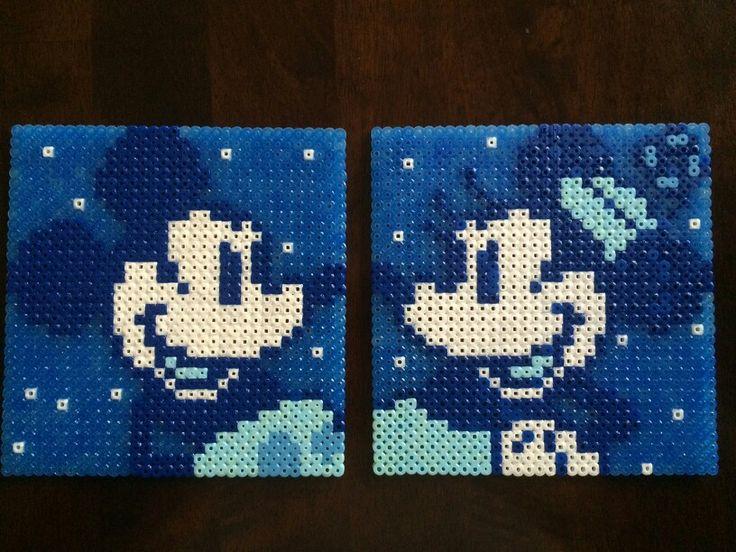 Disney Perler Beads: Winter Mickey and Minnie made by Daniel Nasiatka