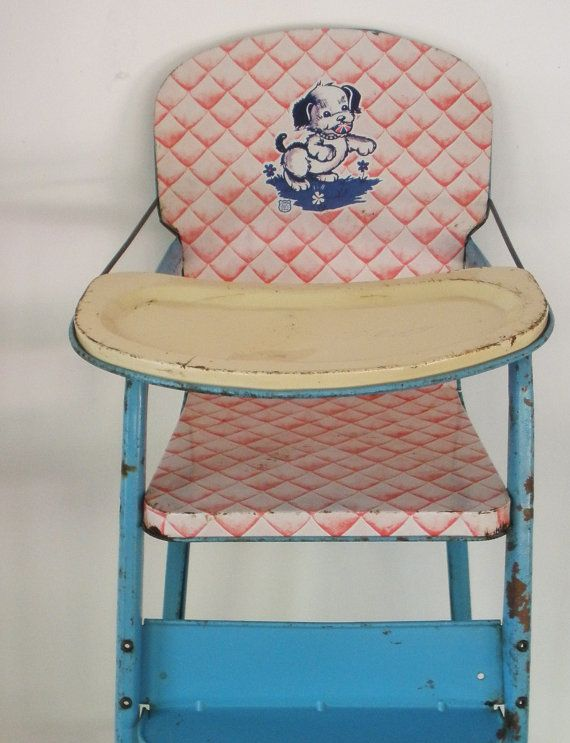 Vintage 1950s metal baby doll highchair