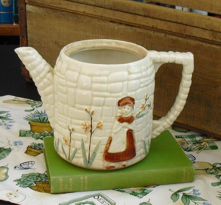 Vintage Porcelier China Teapot, Cobblestone, Dutch Woman with Yellow Daisy, Planter, Pitcher Vase, Country Flower Vase, Rustic Kitchen Decor by AgsVintageCove on Etsy
