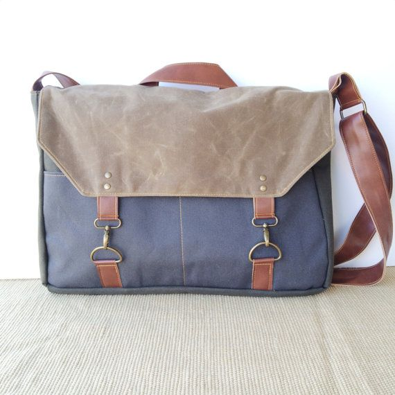 boss bag • crossbody messenger bag - waxed canvas and leather - mens bag • waxed canvas - slate gray canvas - heavy weight canvas • scout