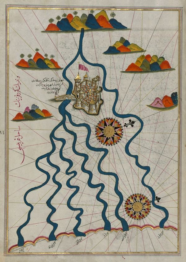 Piri Reis was a 16th century Ottoman Admiral famous for his maps and charts collected in his Kitab-ı Bahriye (Book of Navigation), a book which contains detailed information on navigation as well as extremely accurate charts describing the important ports and cities of the Mediterranean Sea.