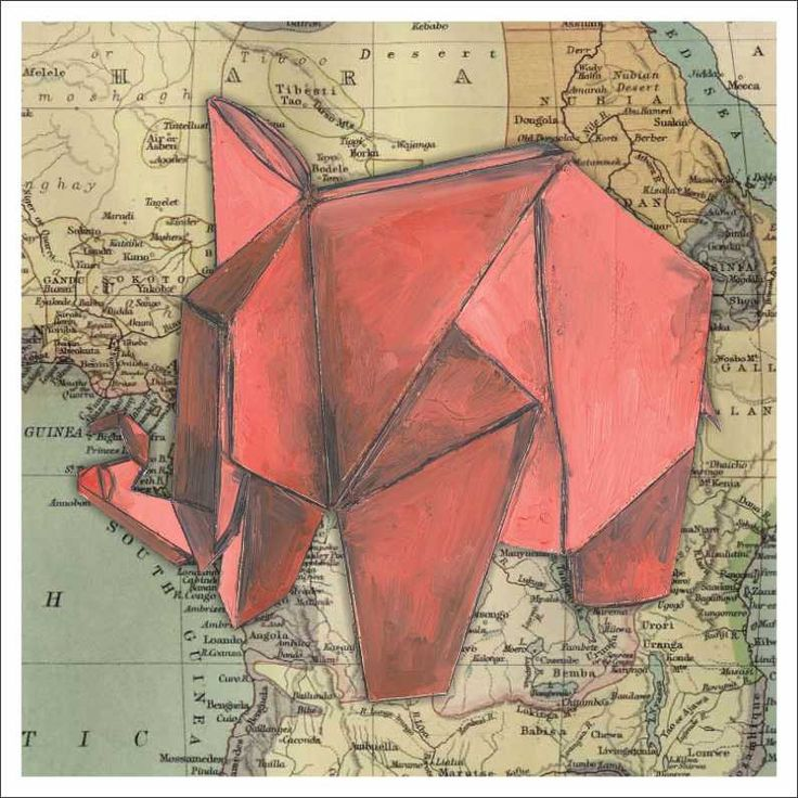 """""""Origami elephant"""" by Sammy Sheppard Oil paint and paper."""
