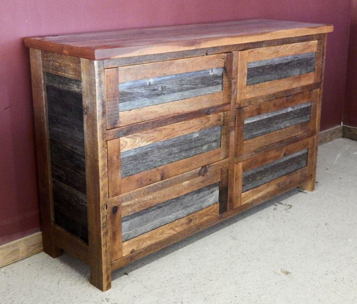 gray and brown barn wood dresser