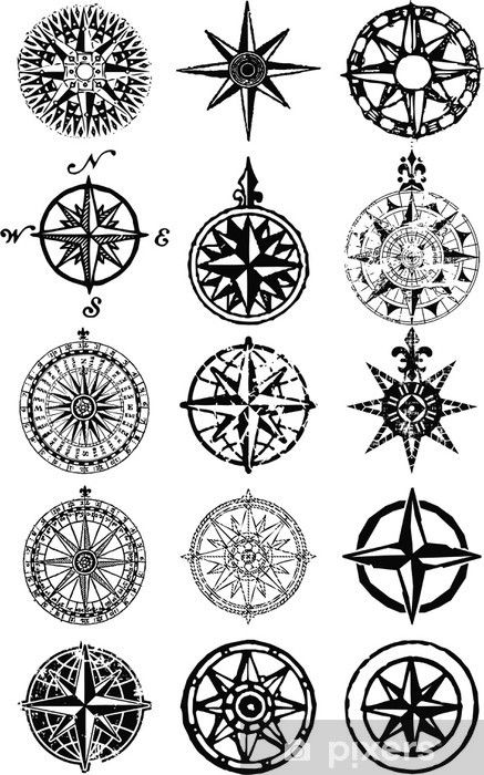 Wind roses – nautical compass vector grunge collection Wall Mural • Pixers® – We live to change – Kompass