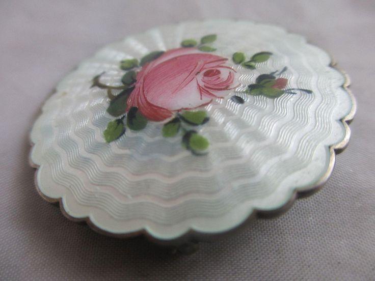 Norwegian guilloche enamel rose sterling silver brooch pin Ivar T Holth18g
