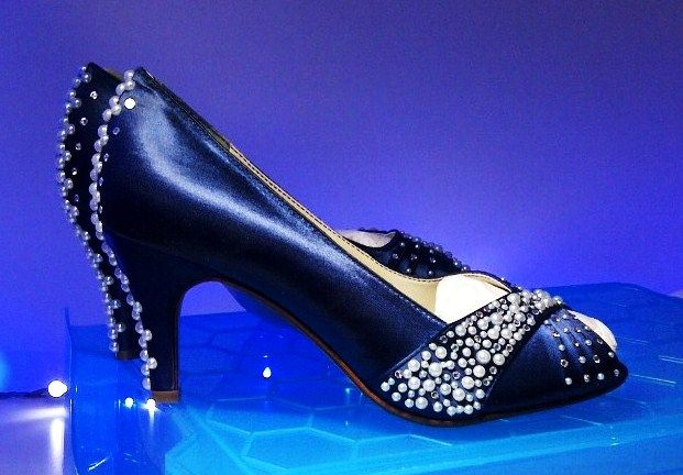 Design 'MIDNIGHT SKY' - embellished with pearls and Swarovski elements.  Soft leather insoles - Nicky ROX Shoe Designs