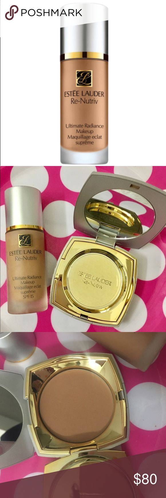 🎉✨Estée x2 re-nutriv foundation bundle ! New ! ✨ New Estée Lauder luxury Re -Nutriv  foundation intense radiance skin care infused foundation shade cashew 3w1 a warm medium tone shade . Comes with matching re-nutriv intense comfort pressed compact ! These are unavailable now ! These two are new compact has scratches minimal ! New products ! Luxury foundation & powder MSRP : 135.00 Estee Lauder Makeup Foundation