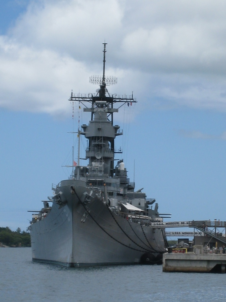 The USS Missouri Battleship is moored in Pearl Harbor. This is where World War II ended when the Japanese signed their unconditional surrender on its deck on September 2, 1945.