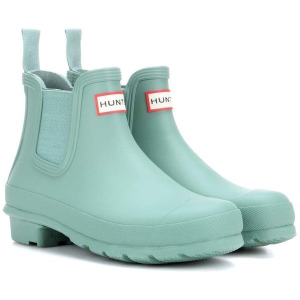 Hunter Original Chelsea Rubber Boots ($120) ❤ liked on Polyvore featuring shoes, boots, green, green shoes, rain boots, hunter footwear, hunter shoes and green rubber boots
