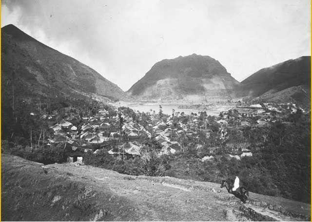 A dutchman riding his horse near Sembungan Village, Dieng, Jawa Tengah, in about 1914.
