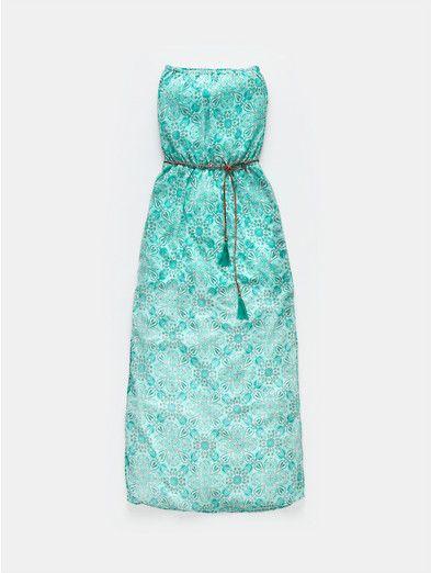 strapless jurk middenkoraal