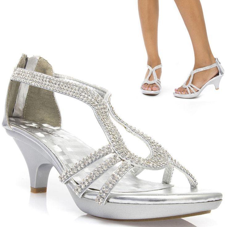 Rhinestone Silver Prom Wedding Bridal Open Toe Low Kitten Heel Party Sandal Shoe #Delicacy #OpenToe
