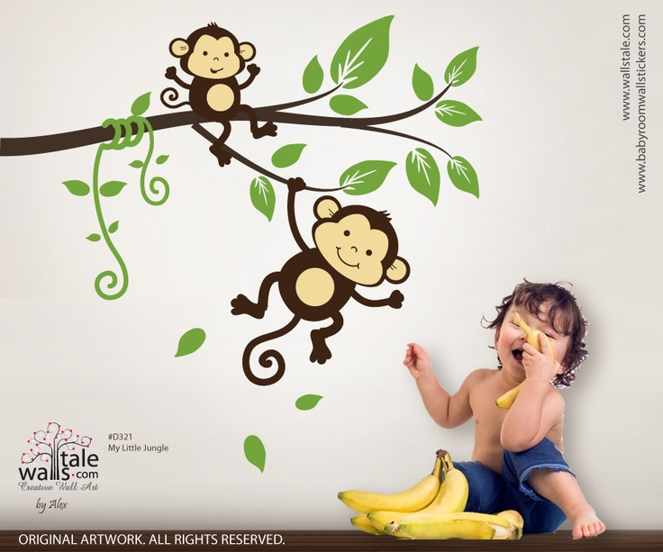 SALE Monkey wall decal, My little jungle monkeys wall decal. $42.00, via Etsy.