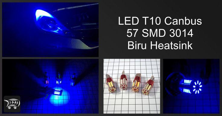 LED T10 Canbus 57 SMD 3014 Biru Heatsink, lampu LED ini bisa digunakan untuk lampu senja kendaraan roda 2 atau roda 4.