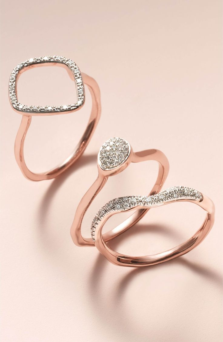 Main Image - Monica Vinader 'Riva' Diamond Stacking Ring