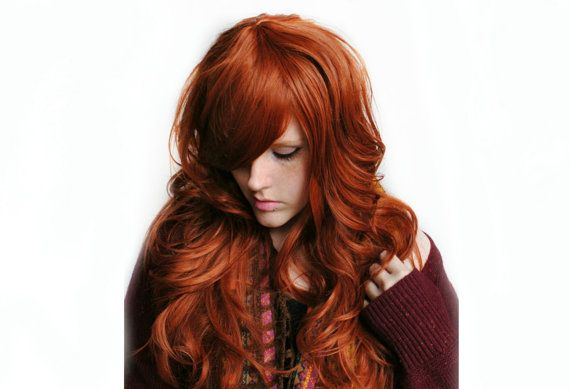 Autumn Darling wig.    Hair Color: Auburn red  Style: Long with soft waves - I have fully razor cut this wig, giving it bouncy layers and luscious