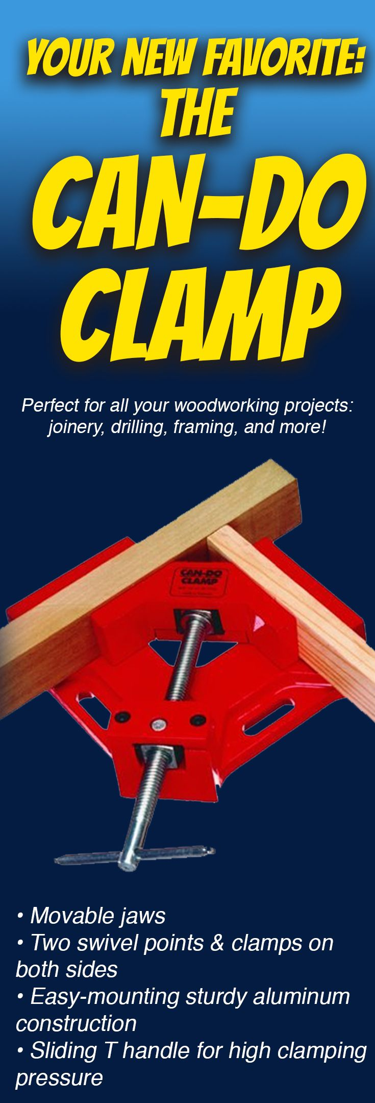 "Easy to Use! Great for framing, drilling, doweling, and much more. Sets up instantly... ready to go to work for you! 2-3/4"" frame width capacity. #woodworking"