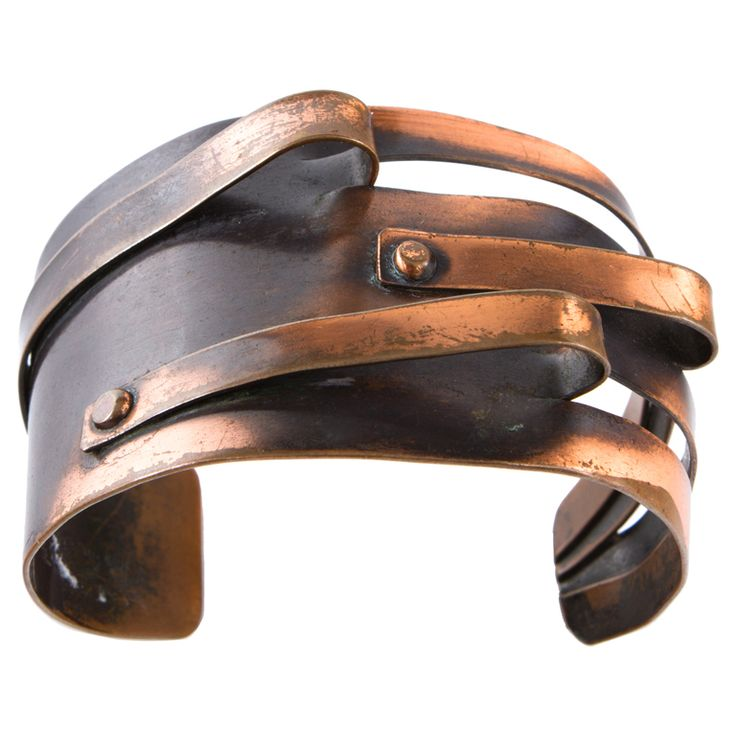"Art Smith cuff ca. 1950. One of the leading modernist jewelers of the mid-twentieth century, Smith trained at Cooper Union. Inspired by surrealism, biomorphicism, and primitivism, Art Smith's jewelry is dynamic in its size and form. Although sometimes massive in scale, his jewelry remains lightweight and wearable. See ""From the Village to Vogue: The Modernist Jewelry of Art Smith""."