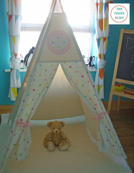 Teepee Teepee Play Tent Kids Teepee Polkadots by TheTeepeeFairy