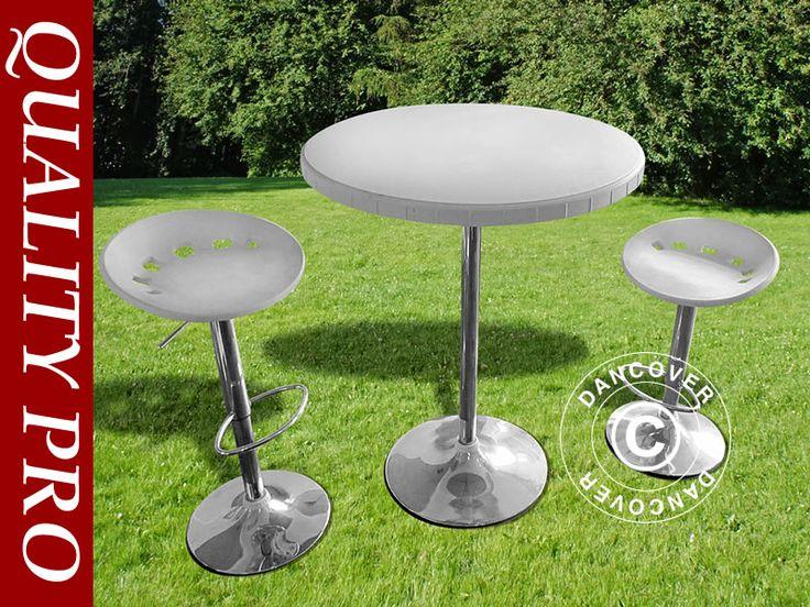 BAR SET, 1 BAR TABLE & 2 BAR CHAIRS, WHITE Elegant bar set including 1 bar table and 2 bar chairs. Durable rental quality.