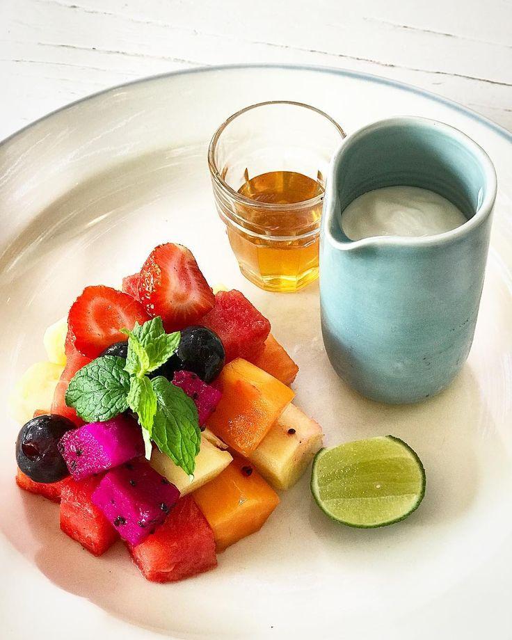 Healthy Breakfast Fresh Seasonal Fruits with Yoghurt & Honey.