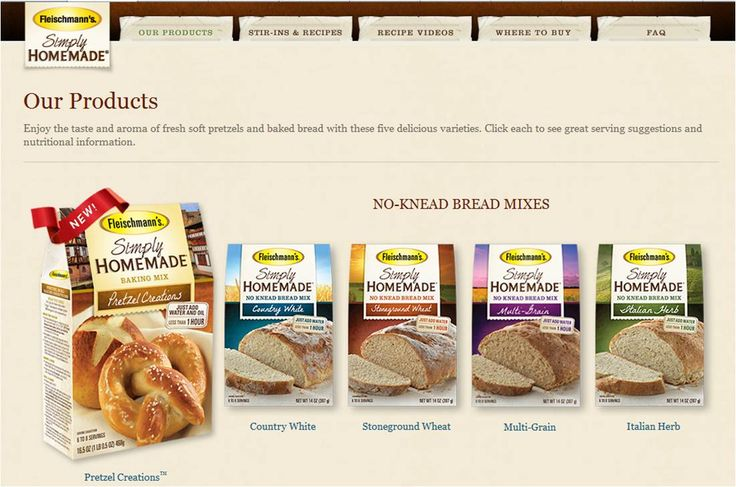 "Want to try ""Fleischmann's Simply Homemade"" no-knead bread and pretzel mixes -- recipes and variations at the click-through site, as well."