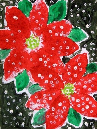 Good activity to go with story Legend of the Poinsettia by Tomie dePaola. Winter flower crafts for kids.