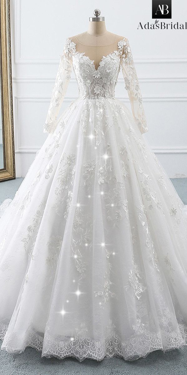 NEW! Eyecatching Tulle & Lace Scoop Ball Gown Wedding Dress With Lace Appliques …