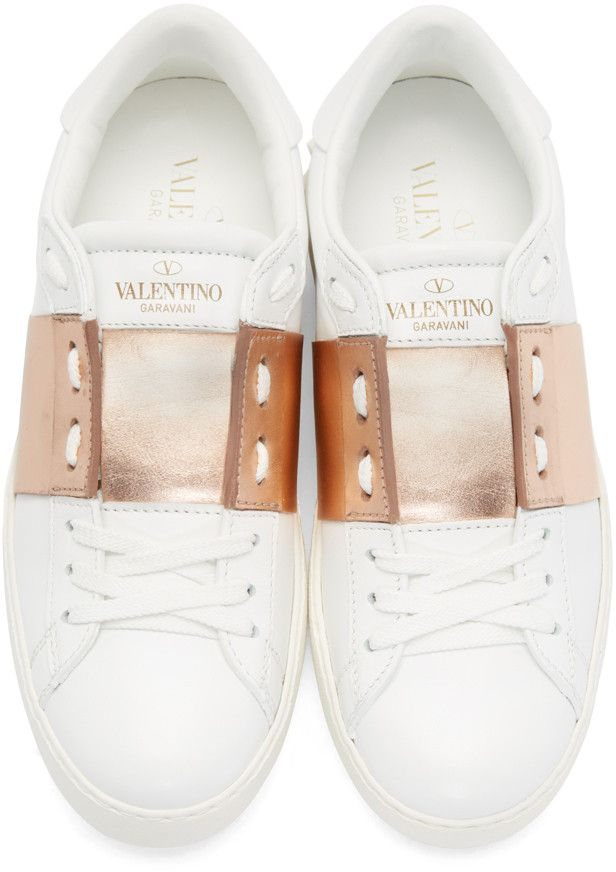 Valentino - White & Gold Open Sneakers