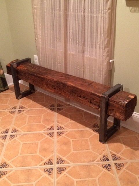 Reclaimed Barn Beam Bench by VirginiaBuildWorks on Etsy