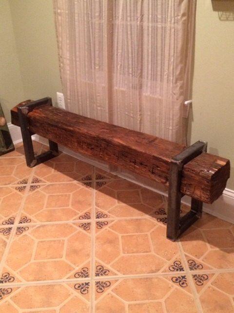 Reclaimed Barn Beam Bench by VirginiaBuildWorks on Etsy