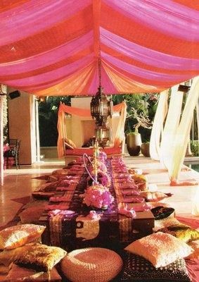Morrocan party setup, possible drape in covered patio area