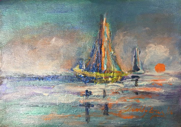 """Bote y Ocaso"". (Boat and Sunset). 2016. 17.5x12.5cm. Acrílico sobre lienzo. Acrylic on Canvas. Por David Flórez. #acryliconcanvas #paintingoftheday #artlover #artcollector #Boat #sunset #sea #DavidFlorezC"