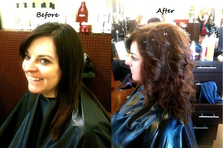 Hair by mica riggs before and after of a perm design to for C curl perm salon vim