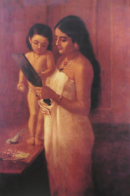 Oil painting, mother & child