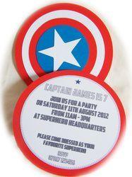 Children's Birthday - Handmade Greeting Cards & Stationery The Avengers. Captain America Birthday Party Invitations. Handmade by Garden of Eden Stationery